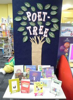 """Poet-Tree""-- poetry book display - poets on tree leaves - April is National Poe. , ""Poet-Tree""-- poetry book display - poets on tree leaves - April is National Poetry Month. School Library Displays, Middle School Libraries, Elementary School Library, Public Libraries, Elementary Library Decorations, Primary School Displays, School Library Decor, School Library Lessons, Library Bulletin Boards"