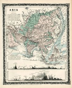 Antique Asia map Print 16 x 19 by AncientShades on Etsy