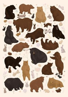 Poster for my class. We had to draw 50 things that are related, so naturally I chose bears, bunnies, flowers and bees. Creature Drawings, Animal Drawings, Cute Drawings, Art Journal Inspiration, Painting Inspiration, Art Inspo, Bear Illustration, Witch Art, Bear Art