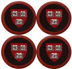 Harvard University Needlepoint Coasters in Crimson by Smathers & Branson