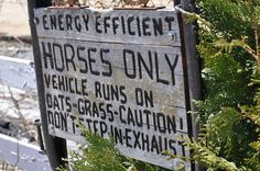 Amish Humor: Energy efficient; HORSES ONLY Vehicle runs on oats and grass. Caution: Don't step in exhaust!