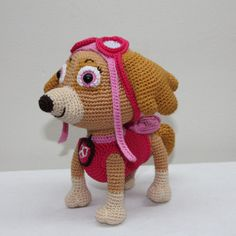 Inspired by the handsome dog from Nickelodeon, I made my own design puppy with bright, happy colors. But in the base it is just a simple puppy, so you can leave behind parts of my design in order to crochet the cutest little dog you can imagine. My design is about 19cm high.