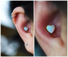 Everyone is loving the new yellow gold opal hearts from Here's a neat little conch piercing I did with one yesterday at . Ear Peircings, Cute Ear Piercings, Body Piercings, Piercing Tattoo, Jewelry Tattoo, Ear Jewelry, Body Jewelry, Conch Earring, Cartilage Earrings
