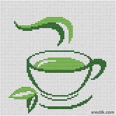 Tea №6 Food and beverages Monochrome Scheme for embroidery scheme for cross stitch