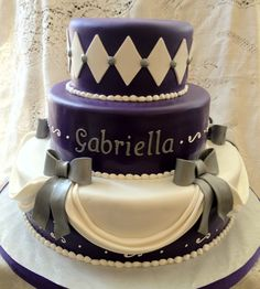 This cake was topped with a tiara for a Royal Princess Themed Sweet 16.