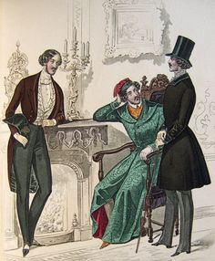 Early Victorian men's fashion.  From 1839.