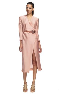 Donna Karan New York Sea Glass Element Belted 3/4 Sleeve Dress