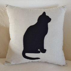Cream Linen Black Cat Motif Cushion by LavenderBluDesigns on Etsy