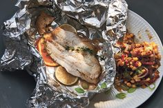 Flounder with Corn and Tasso Maque Choux - Flounder with Corn and Tasso Maque Choux The fillets are cooked in foil packets with a mix of herb - Grilling Recipes, Fish Recipes, Seafood Recipes, Healthy Recipes, Grill Meals, Seafood Meals, Corn Recipes, Cooking With Beer, Easy Cooking