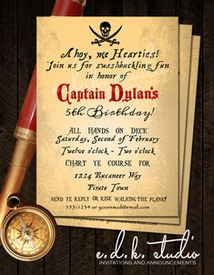 Pirate Party Invitation//Goonies //Halloween//vintage pirate birthday Party// pirates of Caribbean//party printable by edkstudio on Etsy https://www.etsy.com/au/listing/185662616/pirate-party-invitationgoonies