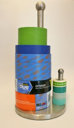 New use for old things! Use a paper towel holder for all your painters tape and washi tape! | Rappsody in Rooms