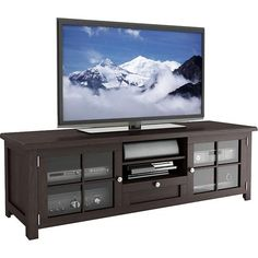"""Sonax - TV Stand for Flat-Panel TVs Up to 70"""". Designed to hold flat-panel TVs up to 70"""" or 200 lbs., this Sonax B-098-BAT TV stand features a drawer and adjustable shelves behind the tempered-glass doors to accommodate your A/V components. The dark espresso finish offers a stylish look.  Best Buy $464.98"""