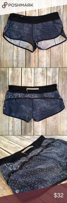 Lululemon 8 speed shorts in patterned batik blue Lululemon 8 speed shorts in patterned batik blue. In great hardly used condition.   Woven for strength and no-bulk performance—Swift Ultra fabric is sweat-wicking, four-way stretch and quick drying  quick dry no-bulk performance woven for strength four-way stretch sweat-wicking lululemon athletica Shorts