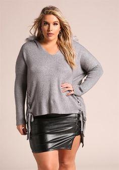 7ca79d2c89940  57.95--3X---GREY---Plus Size Faux Fur Hooded. Plus Size Fashion ...