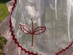 Vintage Half Apron in red and white Dotted by craftscraftydeb, $12.50