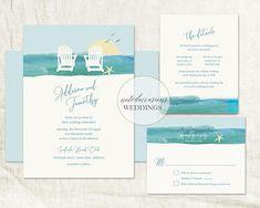 beach wedding invitations destination wedding invitations watercolor invitations aqua wedding beach chair wedding set Outdoor Wedding Suite