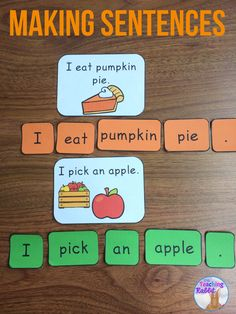 Use this making sentences literacy center for kindergarten or grade 1 students. Early writers seeing words make sentences. Kindergarten Centers, Kindergarten Literacy, Preschool, Daycare Curriculum, Literacy Stations, Literacy Centers, Literacy Games, Making Sentences, Writing Sentences