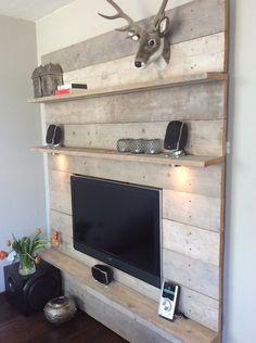 speurdersnl steigerhouten tvwandmeubel incl verlichting - Tv Wand