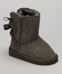 Look at this #zulilyfind! Shoes of Soul Gray Bow Boot - Kids by Shoes of Soul #zulilyfinds