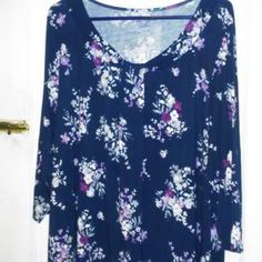 Blue Floral Top! Very comfortable Blue Floral top.  A little longer than most tops.  Great paired with jeans or dress pants.  Brand New/Never Worn!! Croft & Barrow Tops