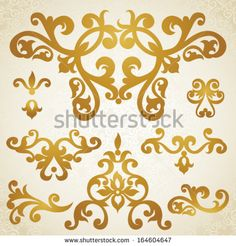 Vector set of scrolls and vignettes in Victorian style. Element for design. It can be used for decorating of wedding invitations, greeting cards, decoration for bags and at tattoo creation.