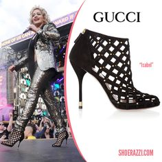 Rita Ora wore Gucci Isabel cut-out booties for her performance at Chime For Change: The Sound Of Change Live Concert in London. Celebrity Shoes, Gucci Boots, Rita Ora, Pumps, Heels, Cage, Christian Louboutin, Booty, Celebrities