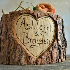 Personalized Heart in Tree Cake Stand – Country Chapel Weddings Chapel Wedding, Rustic Wedding, Wedding Decorations, Wedding Ideas, Wedding Stuff, Tree Stump Cake, Cupcake Tier, Log Cake, Tree Cakes