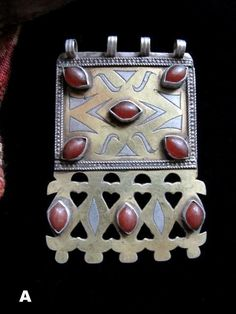 Old Turkmen Teke Tribal Jewelry Pendant in Gilded Silver and Carnelians