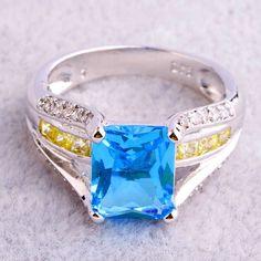 Emerald & Round Cut Blue & White Topaz Citrine Gemstone Silver Ring Size 7