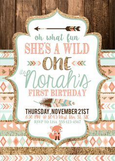 Tribal Wild One Party Invite Birthday  Baby's first birthday by…