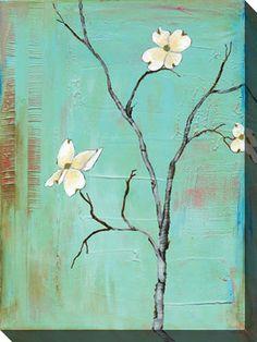 dogwood on Turquoise Canvas