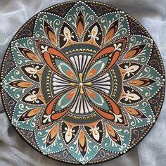 Handmade with l❤️VE ( Point Paint, Hand Painted Dishes, Plate Art, Dot Painting, Mandala Art, Creative Ideas, Ali, Stencils, Decorative Plates