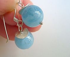 Aquamarine and silver earrings. From anacdesigns on Etsy $32