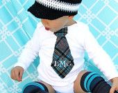 Monogrammed Tie Onesie: I know a Mimi that will be happy to attempt this.