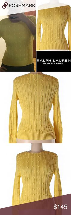 """100% Mercerized Cotton Yellow Cable Knit Sweater Gorgeous yellow, cable knit, 100% mercerized cotton, medium weight, crew neck sweater by Ralph Lauren Black Label (their high end retail line), retailed for $790, purchased at Nordstrom 2 or 3 years ago. Tagged as a slim fit medium and would fit a size 4/6 well, 23"""" long. Worn 2x and dry cleaned, in near perfect condition. Ralph Lauren Black Label Sweaters Crew & Scoop Necks"""