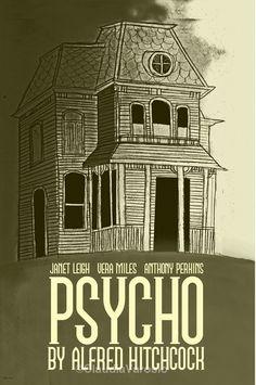 Psycho (1960) - Minimal Movie Poster by Claudia Varosio #minimalmovieposter #alternativemovieposter #60smovies #claudiavarosio #hitchcockmovies