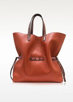 Open Brown Leather Lace Shopper Bag - Jil Sander