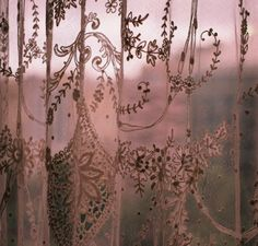 the-coldharbour-road: Lace (by Stephanie Overton) Dusty Rose Cottage Deco Rose, Lace Curtains, Dusty Pink Curtains, Waverly Curtains, Drapery, Just Girly Things, Linens And Lace, Rose Cottage, Soft Summer