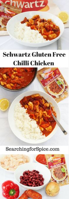 Recipe for Schwartz gluten free chilli chicken and launch of gluten free recipe mixes.  This makes a tasty midweek meal!