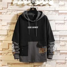 Off White Hoodie Men, Black And White Hoodies, Black Hoodie Outfit, Stylish Hoodies, Ripped Hoodie, Streetwear, Casual Outfits, Cool Outfits, Japan Fashion