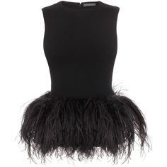 Alexander McQueen Black Feather Peplum Top ($1,379) ❤ liked on Polyvore