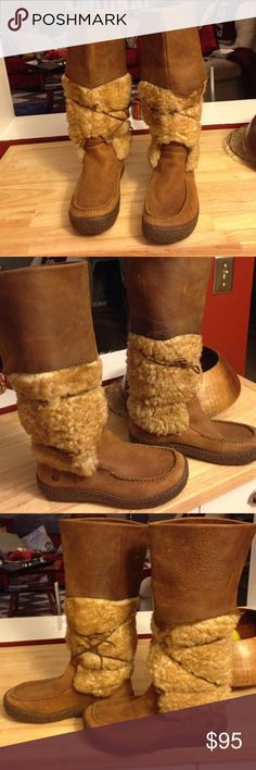 Clark Leather and Shearling knee high boots Stay warm and comfy while looking fashionable this winter!  Super cute - very good condition. Clarks Shoes Winter & Rain Boots