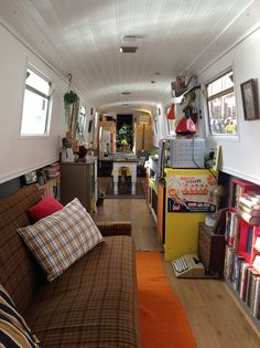 19 Magical Bookshops Every Book Lover Must Visit A Bookshop on a boat! The Book Barge, Staffordshire Living On A Boat, Tiny House Living, Canal Boat Interior, Hippie Vintage, Canal Barge, Narrowboat Interiors, Caravan Renovation, Little Paris, Boat Design