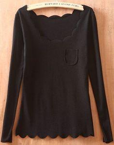 Black Long Sleeve Ruffles Pocket Embellished T-Shirt