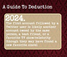 A Guide To Deduction, Suggested by    whyruntothetardis
