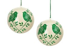 Lolita Bauble Ornaments ~~ Through a delicate contrast of cream and green hues, a tranquil scene of two birds resting on branches is rendered. ~~ By Nkuku