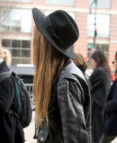 our roundup of street style ladies in chic bow chapeaus! // can i have both the hat and the leather jacket? thanks.