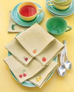 It takes only a few oddball buttons and embroidery floss to transform plain napkins into a harvest of whimsical linens.