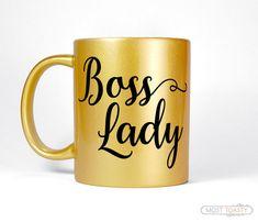 Boss Lady Mug, Gold Desk Accessories, Entrepreneur Gift For Her, Home Office Coffee Mug, Hustle Gold Mug, Unique Women's Gift for Boss Mug