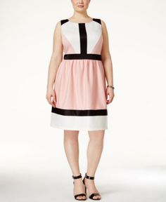 Trixxi Plus Size Sleeveless Colorblocked A-Line Dress - Dresses - Plus Sizes - Macy's